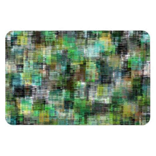 Colorful Blocks Greens Teals Rectangle Magnet