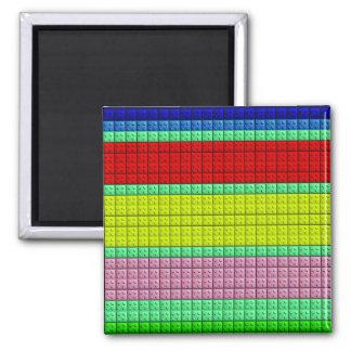 Colorful blocks pattern square magnet