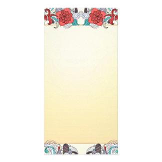 Colorful blossom and damask wedding gift custom photo card