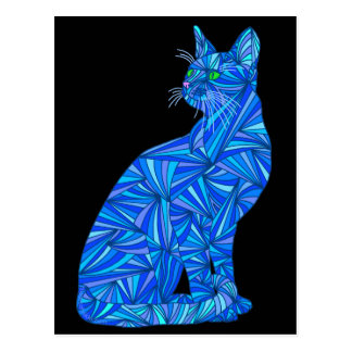 Colorful Blue Abstract Sitting Cat Artist Postcard