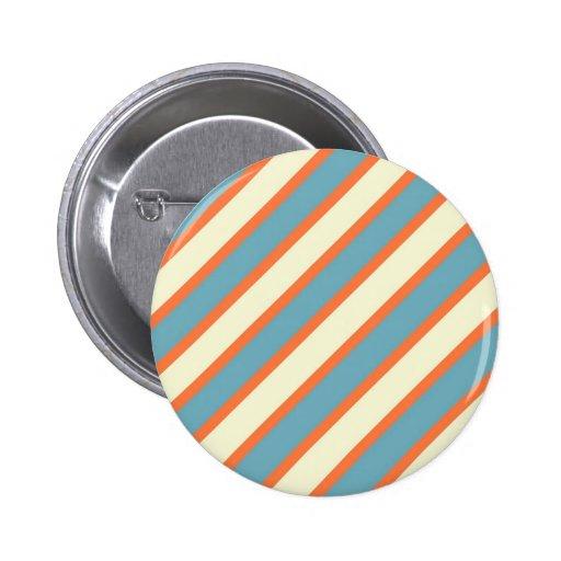 Colorful Blue and Orange Diagonal Stripes Pattern Button