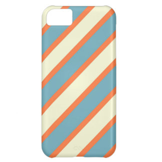 Colorful Blue and Orange Diagonal Stripes Pattern iPhone 5C Case