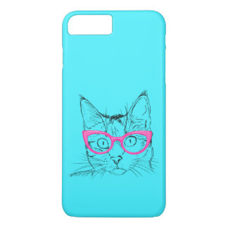 Colorful Blue and Pink Hipster Cat iPhone 7 Plus Case