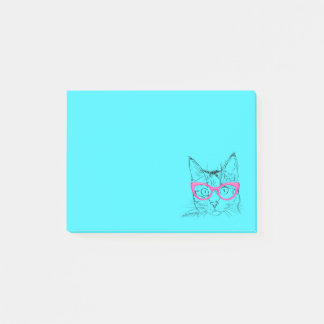 Colorful Blue and Pink Hipster Cat Post-it Notes