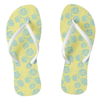 Colorful Blue and Yellow Floral Thongs