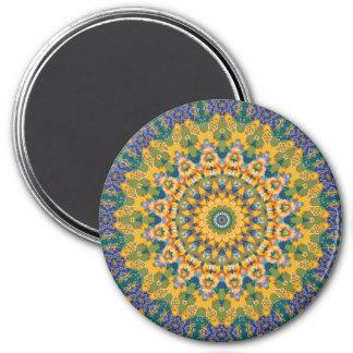 Colorful Blue and Yellow Mandala Kaleidoscope 7.5 Cm Round Magnet