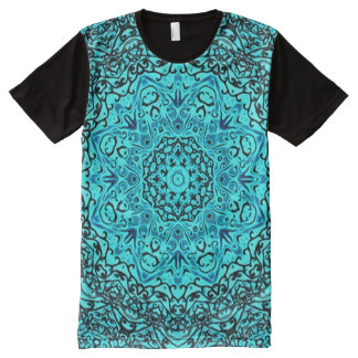 Colorful Blue Astral Travel Mandala Indie Art All-Over Print T-Shirt