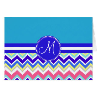 Colorful Blue Aztec Andes Chevron Zig Zags Card