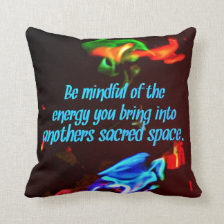 Colorful Blue Flames Of Energy Sacred Spaces Quote Cushion