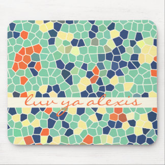 Colorful Blue Green Orange Abstract Funky Mosaic Mousepads