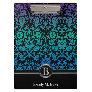 Colorful Blue, Green & Purple Floral Damask Clipboard