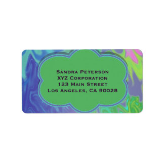 Colorful Blue Green Splash Abstract Address Label