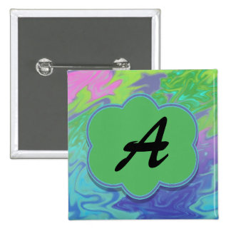 Colorful Blue Green Splash Abstract Pinback Button