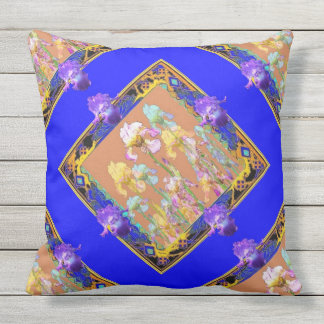 Colorful Blue Iris Garden by Sharles Outdoor Cushion