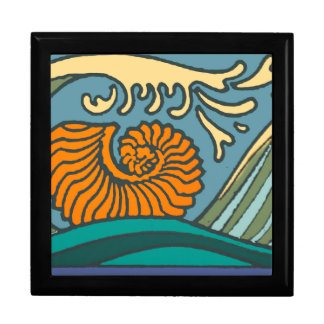 Colorful Blue Ocean Waves Gift Box