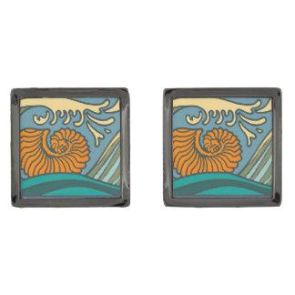 Colorful Blue Ocean Waves Gunmetal Finish Cufflinks