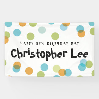 Colorful Blue Pastel Confetti Dots Kids Birthday Banner