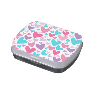 Colorful Blue Pink and Purple Hearts Candy Tin