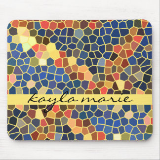 Colorful Blue Yellow Orange Abstract Funky Mosaic Mousepad