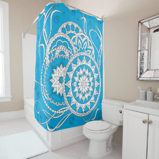 colorful blue zen pattern with sends them shower curtain