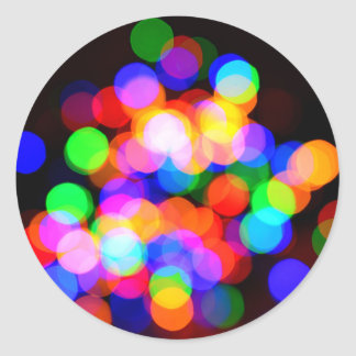 Colorful blurred lights classic round sticker