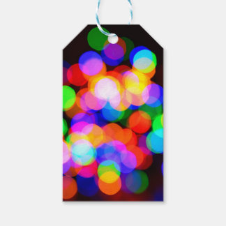 Colorful blurred lights gift tags