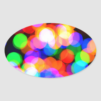 Colorful blurred lights oval sticker
