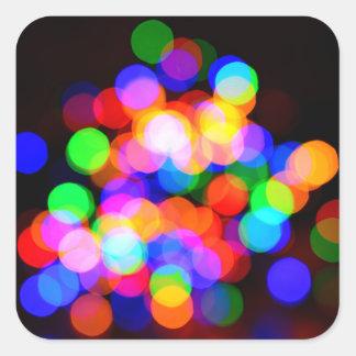 Colorful blurred lights square sticker