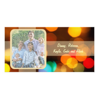 Colorful Blurry Lights Holiday Photo Card