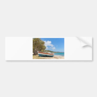 Colorful boat lying on greek beach bumper sticker