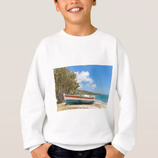 Colorful boat lying on greek beach sweatshirt
