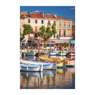 Colorful boats in the small harbor canvas prints