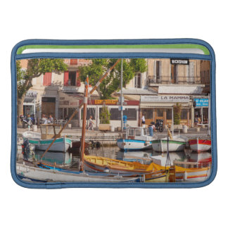 Colorful boats in the small harbor MacBook air sleeve