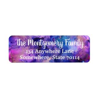 Colorful Bohemian Ink Splatter & Family Name Return Address Label