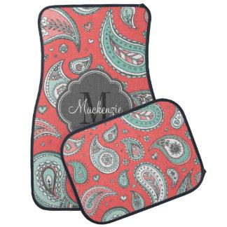 Colorful Bohemian Paisley Custom Monogram Floor Mat
