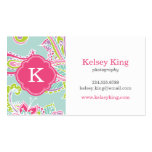 Colorful Bohemian Paisley Henna Custom Monogram Business Card Templates