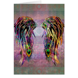 Colorful Bohemian Peacock Feather Angel Wings Card