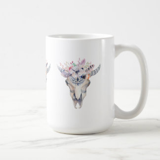 Colorful Boho Bull Scull Floral Bouquet Coffee Mug