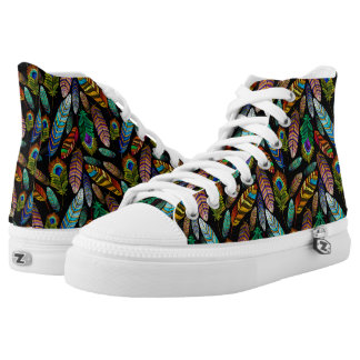 Colorful Boho Feather Pattern High Tops