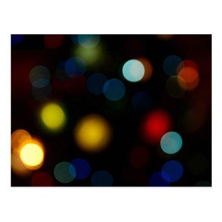 Colorful bokeh lights design postcard