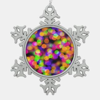 Colorful bokeh lights illustration pewter snowflake decoration