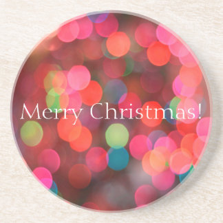 Colorful Bokeh Lights Merry Christmas Greeting Coaster
