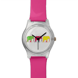Colorful Bold Elephants Trendy Pink Girly Chic Wrist Watch