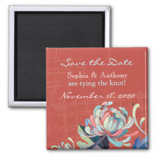 Colorful, Bold Floral Wedding Save the Date Square Magnet