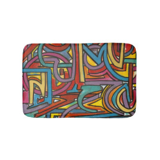Colorful Bold Geometric Abstract Modern Art Bath Mats