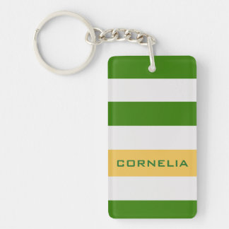 Colorful Bold Green Stripes with Custom Name Key Ring