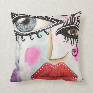 Colorful Bold Lip Quirky Eyes Collage Art Graffiti Cushion