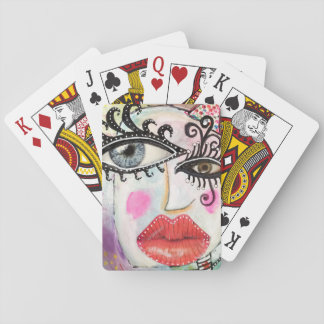 Colorful Bold Lip Quirky Eyes Collage Art Graffiti Playing Cards