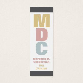 Colorful Bold Mod Monogram Mini Business Card