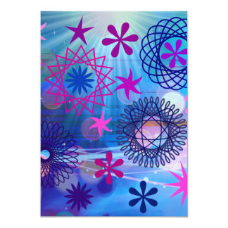 Colorful Bold Stars and Light Rays Funky Design 13 Cm X 18 Cm Invitation Card